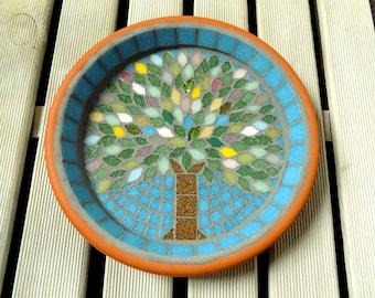 Spring Jewel Tree Mosaic Garden Yard Bird Bath Ornament Decoration