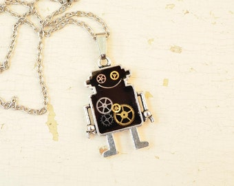 Robot Steampunk necklace/Necklace Robot/Robot pendant/Industrial neclace/Andriod Pendant/Black pendant/Steampunk gift/Steampunk Robot