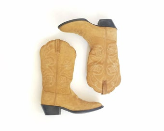 Vintage Womens 6 Ariat Heritage Riding Boots Tall Pull On Suede Leather R Toe Country Western Boots Southwestern Boho Biker Moto Dress Boot