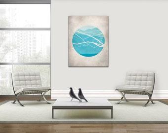 Canvas Art, Mid Century Modern Art, Wall Art Canvas, Teal Wall Art, Large Wall Art, Modern Art, Wall Art Print, Wall Decor Living Room