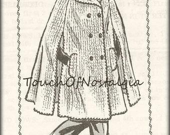 Crochet LONG CAPE Vintage Crochet Pattern - Long Crocheted Cape - Wide Collar - Arm Openings - Pockets / Very Fashionable