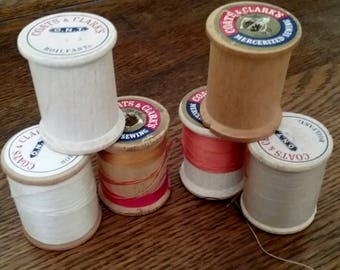 Wood thread spools, 14 total with 8 sm & 6 med, assort brands, vintage sewing collection, mid-century notions, fun for repurpose projects
