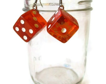 Fabulous Las Vegas Red Dice Earrings