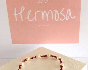 Dark Pink Pearl Bracelet