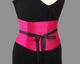 Hot Pink Silk Corset / Waist Cincher / Wedding Corset / Bridesmaid Corset /
