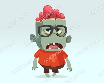 Cartoon monster zombie scientist wearing funny eyeglasses. Vector illustration isolated clipart. Halloween character