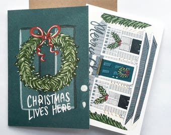 Hand Illustrated Christmas Greeting Card Set - love one another