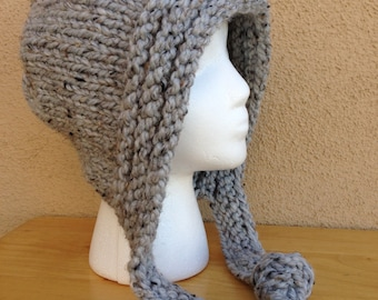 Chunky Knit Hoodie Hat in Grey Marble, Hand Knitted Super Chunky Women Hat, Hooded Hat, Knit Snowboard Hat Gift for Her  **Ready To Ship**