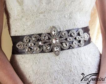 Bridal sash, rhinestones and pearl sash, wedding sash, jeweled sash belt