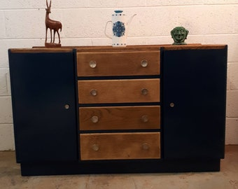 Fabulous mid century oak sideboard painted in Farrow and Ball Hague Blue