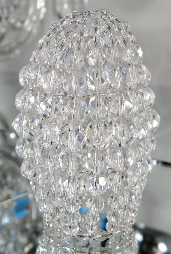 Small faceted glass beaded light bulb cover chandelier shade like this item aloadofball Images