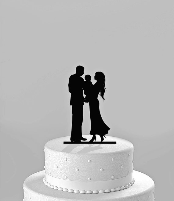 Wedding Cake Topper Silhouette Bride &Groom holding baby