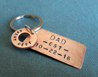 New Dad Gift Dad Keychain First Fathers Day Gift Personalized Gift for Dad Keyring Perfect Gift for Dad Keychain copper New Daddy Key Chain