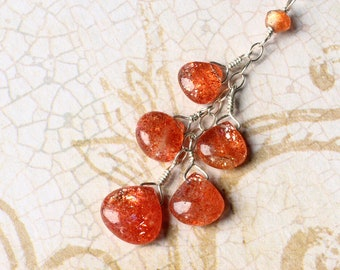 "Sunstone Necklace, Sunstone Jewelry, Sunstone Pendant, Sterling Silver, August Birthstone, CircesHouse, ""Sunberries"""