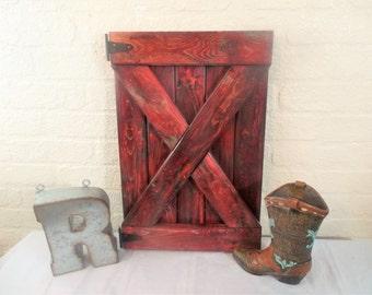 Small Red Rustic Barn Door Wall Decor