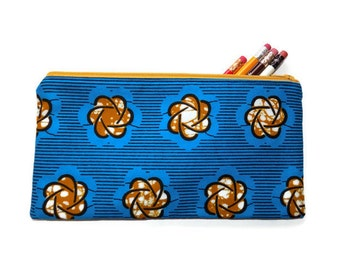 Pencil Case, Zipper Pouch, Make-up Bag, Cosmetic Bag, African Print Cosmetic Bag, Pencil Pouch, Cosmetic Case, Pouch, Blue Pouch, Girls Gift