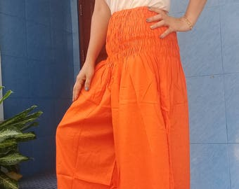 Harem Pants Leggings Smocked Baggy Genie Yoga Orange
