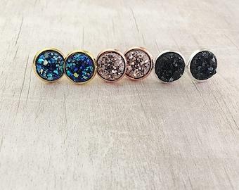 Rose Gold Druzy Stud Earrings - Stocking Stuffer for Women - Druzy Earrings - Druzy Jewelry - Stocking Stuffer Under 20