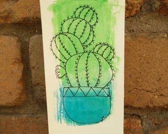 Golden Barrel Cactus Original Artwork