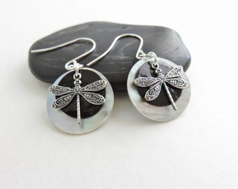 Silver Dragonfly Earrings - Dragonfly Jewelry, Black Shell Earrings, Mussel Shell Earrings, Sterling Silver Earrings Dragon Fly Jewelry