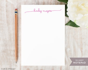 Personalized Notepad - SWASH SCRIPT - Stationery / Stationary Notepad - chic simple with love from note pad / womens girls custom stationary