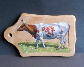 Cow portrait on Cutting Board. Cow Art. Original cow painting. Brown and white cow. Acrylic on wood animal picture