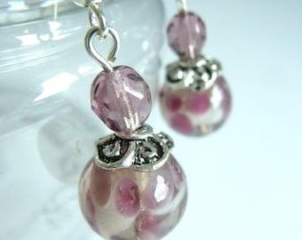 Earrings Angel purple / mauve in silver