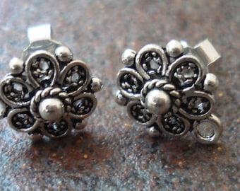 Earring Posts, Sterling Silver Floral Filigree , Pkg of 2