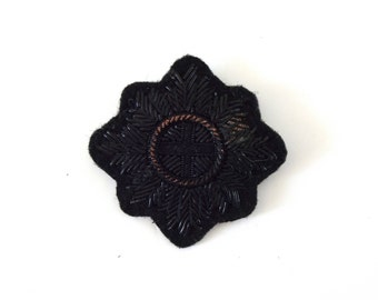 Vintage Antique Black Embroidered Military Cross Badge Pin / Brooch / Jewelry