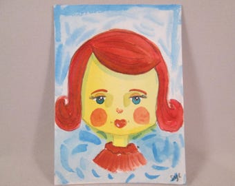 ACEO Original Watercolor Girl Red Hair Red Lips OOAK Gift Ceville Designs