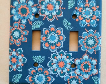 Double Switch plate cover, blues and corals, mandalas, functional art, oldschool