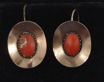 10k Gold Victorian Coral Drop Earrings