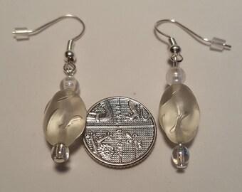 Preciosa Clear Glass & Bead Shepherd Hook Earrings.