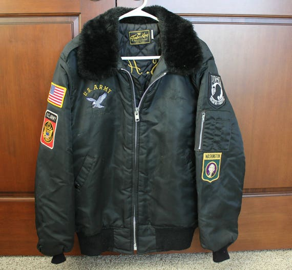Vintage US Army Tour Jacket, 1970s Timber King Quilted Lined Coat with Patches, Embroidery