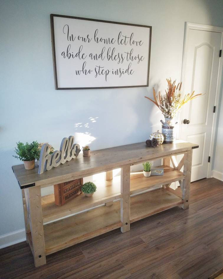 Rustic Farmhouse Sofa Table Console Table Entertainment Center