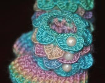 Crochet Baby Booties ~ Pastel Rainbow Booties Little Girl 0-6 Months ~ Crocodile Stitch Booties ~ OOAK