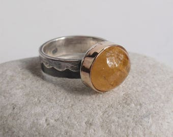 Equinox - SS and 14K goldfilled ring with genuine imperial topaz