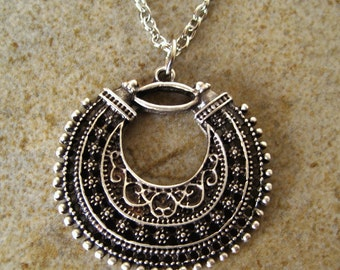 Bohemian Tibetan Silver Filigree Crescent Necklace