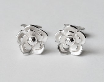 Silver flower earrings sterling silver studs dainty handmade gift for women bridesmaid mum unique botanical gift