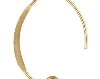 14k Gold Filled V Shape Flattened Earwire (GP-4006457)