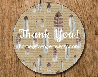 Customized Thank You Stickers - Boho Feather Newsprint Vintage - Party - Packaging Display - Thank You Stickers
