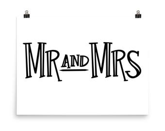 mr and mrs poster | printed sign | ready to hang or frame | wedding sign | home decor