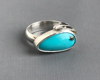 Robin's Egg Turquoise and Sterling Silver Ring with Leaf Accent