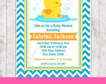 Rubber Duck Baby Shower Invitation   Printed Duckie Baby Shower Invitation  By Dancing Frog Invitations