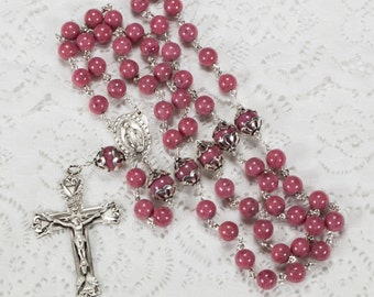 Pink Rhodonite Catholic Rosary, Handmade, Heirloom Gift for Women - Bali Sterling Silver, Gemstone, Miraculous Medal Center, Unique Rosaries