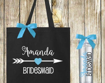 6 Personalized Bride or Bridesmaid Tote Bag and Skinny Tumbler Sets