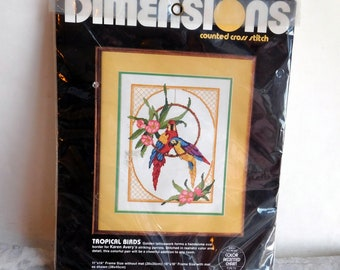 Vintage Dimensions Counted Cross Stitch Needlepoint Kit 3582 - Karen Avery's Parrots - Complete, Still Sealed - Colorful Birds - Craft Kit