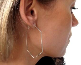 Hexagon Hoop Earrings - Geometric Sterling Silver Hoops 2 inch (5cm) - Modern Jewelry. Unique Earrings - Hexagon Earrings. Geometric Jewelry