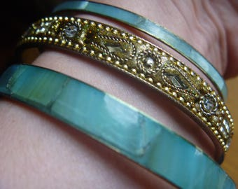 vintage stacking bangles, three stacking bracelets, turquoise and bronze