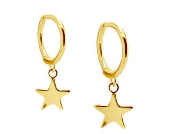Silver Star and ring earrings N5